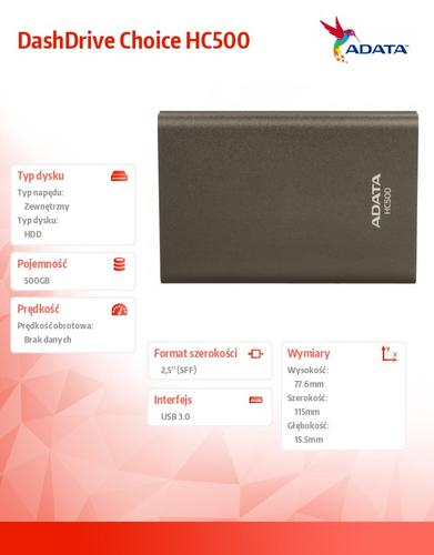 A-Data DashDrive Choice HC500 500GB 2.5'' USB3 Titan