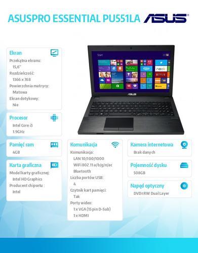 """Asus ASUSPRO ESSENTIAL PU551LA-XO164G Win8.1 Pro DP i3-4030U/4GB/500GB+8GB SSD/HD4400/8DL/15.6"""" HD AG Dark Gray"""