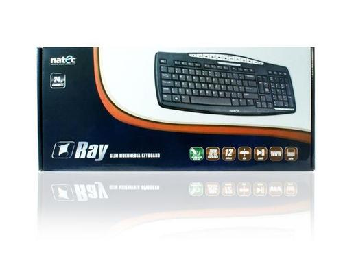NATEC Klawiatura multimedialna RAY Slim Black USB (Russian Layout)