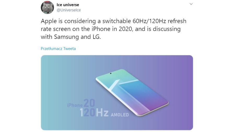 Znany dostarczyciel informacji potwierdza, że 120 Hz może pojawić się w nowym iPhonie