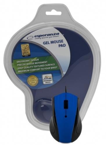 ESPERANZA Przewodowa mysz optyczna z podkładką żelową. 1200 DPI, trzy przyciski, niebieska
