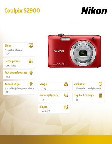 Nikon Coolpix S2900 czerwony 20,1M,5xOZ,720p