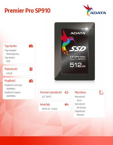 A-Data SSD Premier Pro SP910 512GB 2.5'' S3 Marvell 88S9187 560/460 MB/s