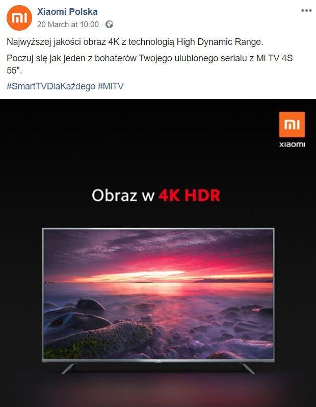 Post Xiaomi Polska na fanpage'u