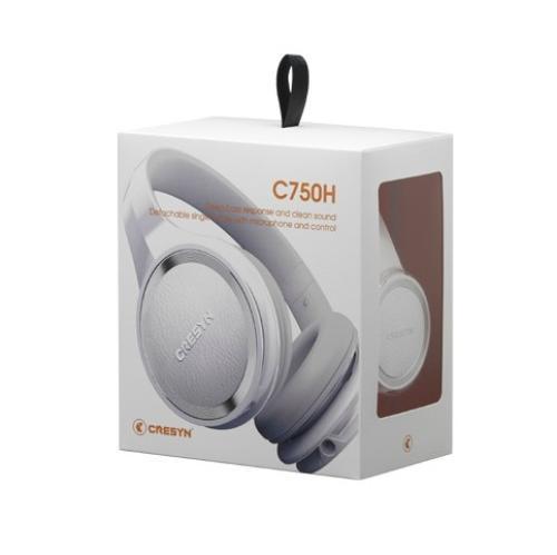 Cresyn C750H Białe słuchawki HIFI z mikrofonem i pilotem