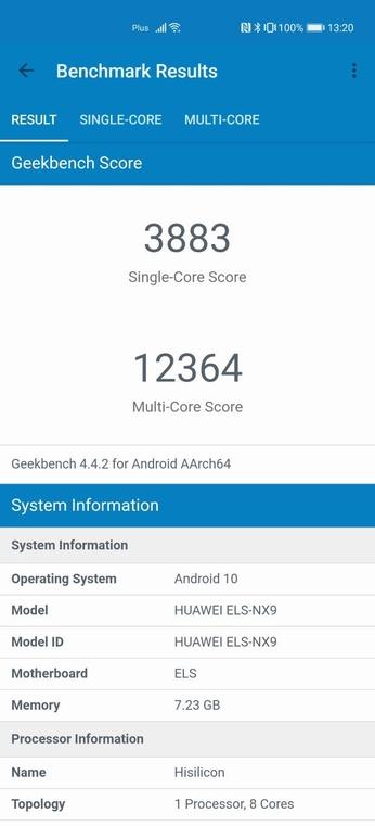Geekbench - starsza wersja na Huawei P40 Pro