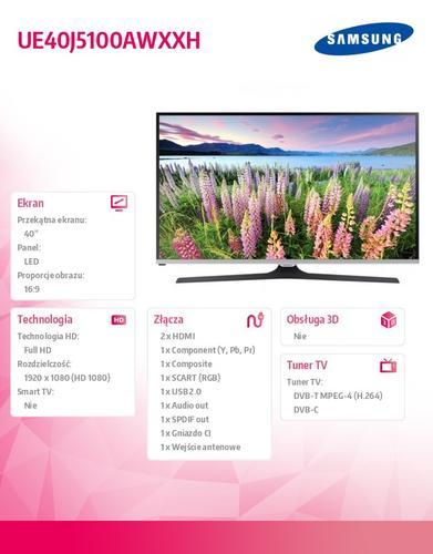 "Samsung 40"" TV Slim LED FHD UE40J5100AWXXH"
