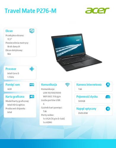"Acer TravelMate P276-M 17.3""/i5-4210U/4GB/500GB/Intel HD/DVD RW/Win7P/Win8.1P"
