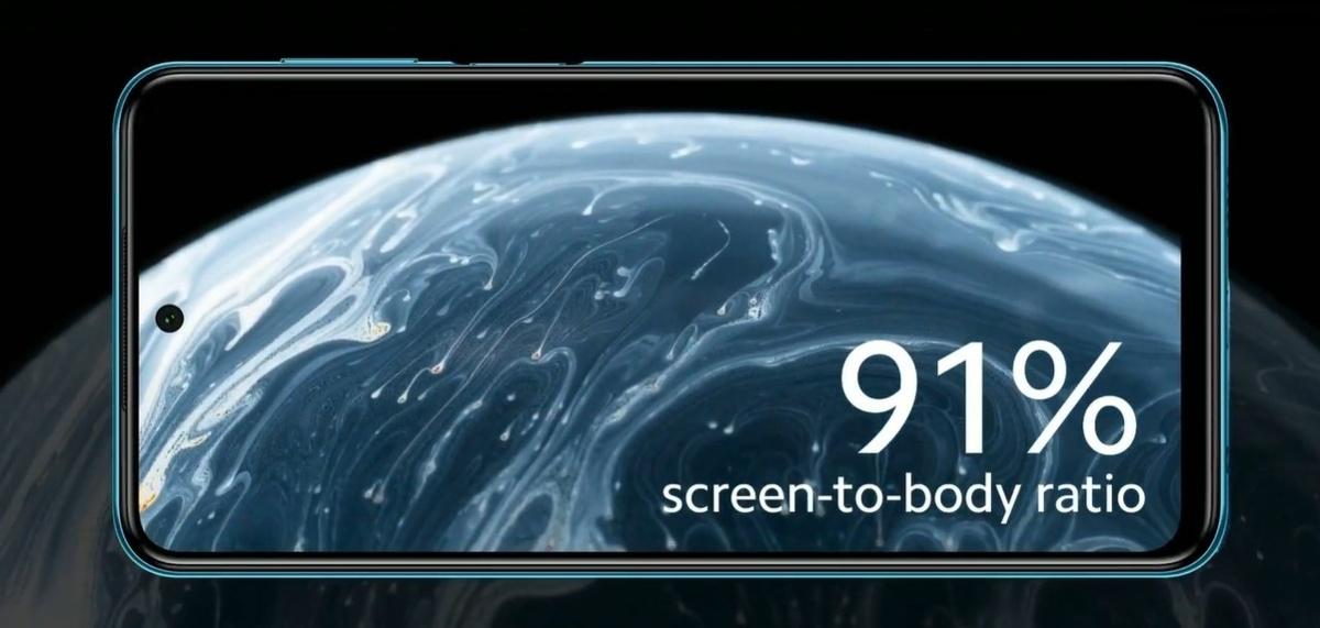 Ekran o rozdzielczości Full HD+ zajmuje ponad 90 procent przedniego panelu
