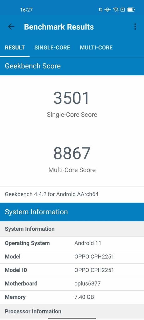 Wynik OPPO Reno6 5G w Geekbench 4