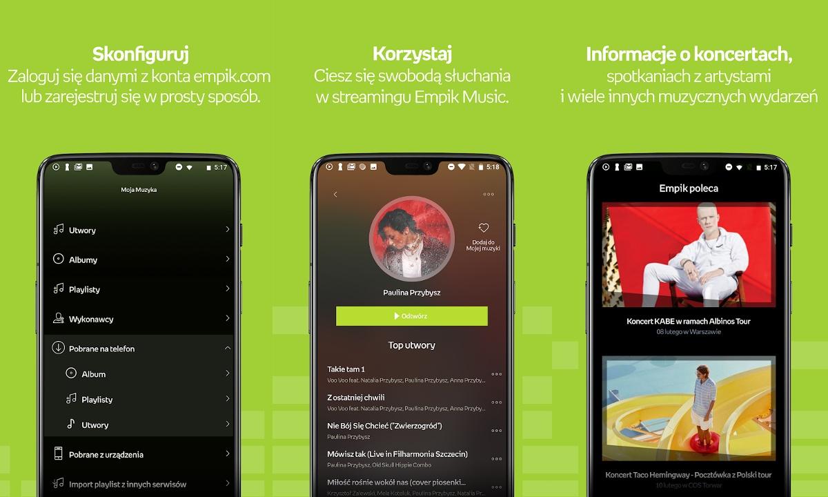 Moblina aplikacja Empik Music oferuje funkcje zblizone do konkurencji.