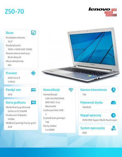 "Lenovo Z50-70 59-440277 DOS i3-4030U/4GB/1TB+8SSHD/nVidia GF GT 840M 2G/15.6"" White"