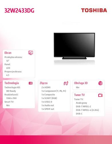 Toshiba 32'' LED 32W2433DG