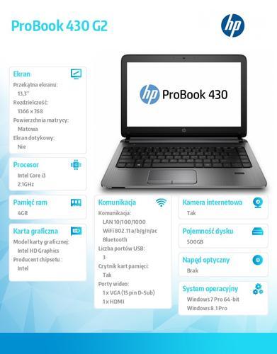 HP 430 G2 i3-5010U W78P 500/4G/13,3 K9J77EA