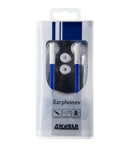 4World Słuchawki MP3 DuoColor Flat | jack 3.5mm | 1.2m | niebiesko-białe 08483