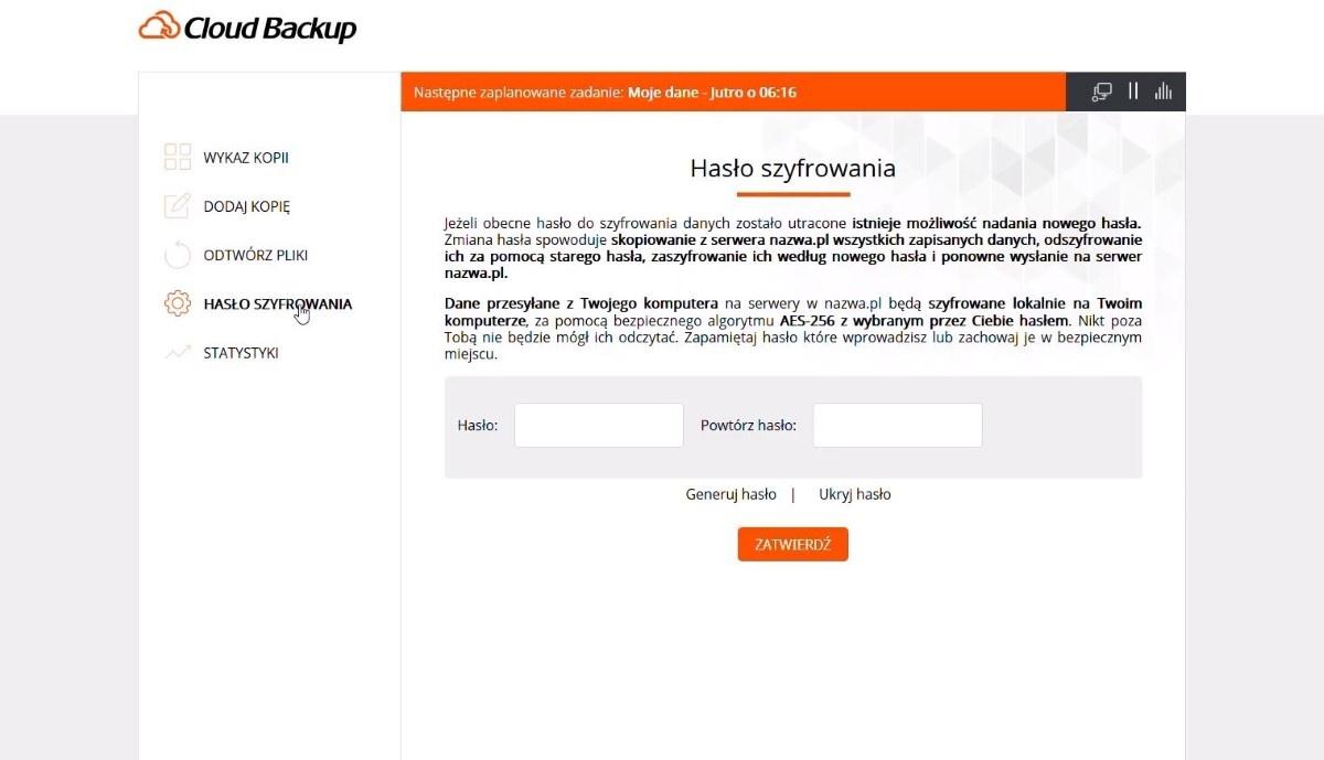 Zmiana hasła przez użytkownika w Cloud Backup w nazwa.pl