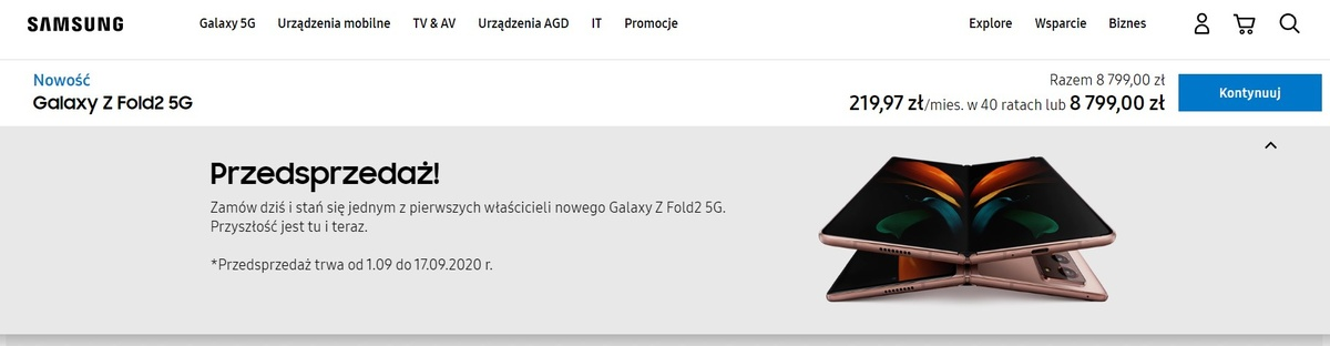 Cena Samsunga Galaxy Z Fold 2 jest niższa od poprzedniej