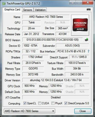 Asus Radeon HD7950 DirectCU II Top CPU-Z