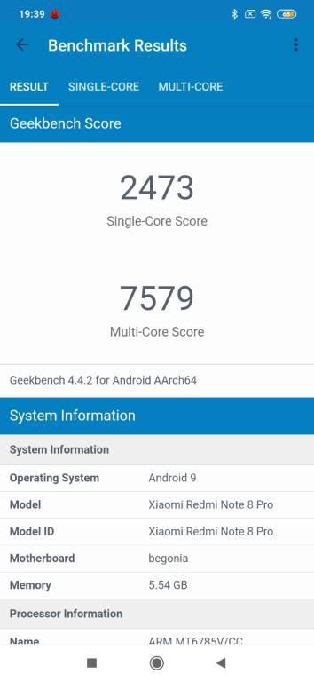 Wynik Redmi Note 8 Pro w Geekbench