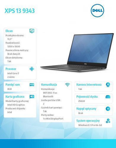 """Dell XPS 13 9343 Win8.1Pro (64Bit) i7-5500U/256GB/8GB/HD5500/4-cell/BT4.0/Office 2013Trial/KB-Backlit/13.3"""" QHD+ UltraSharp/2Y DND"""