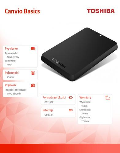 Toshiba CANVIO BASICS 2.5 500GB USB 3.0 BLACK