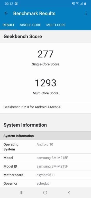 Wynik Samsunga Galaxy M21 w Geekbench 5