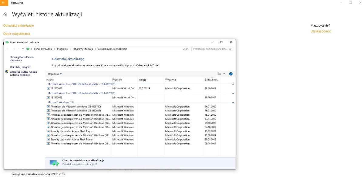 Screen prezentujący możliwość usuwania aktualizacji w Windows 10