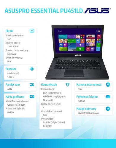 "Asus ASUSPRO ESSENTIAL PU451LD-WO192G Win8.1 Pro DP i3-4030U/4GB/500GB/GF820 (N15V-GM)/8DL/14.0"" HD AG Dark Gray"