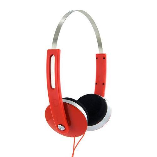 4World Słuchawki stereo nauszne czerwone,SuperBass,COLOR 08252