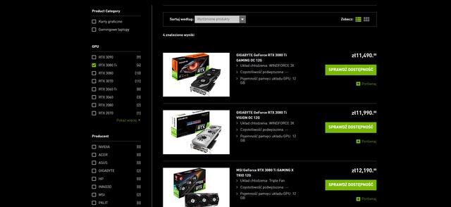 Ceny RTX 3080 Ti są bliższe 12000 zł