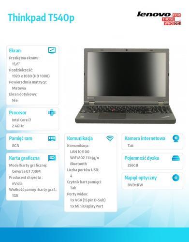 """Lenovo Thinkpad T540p 20BFA191PB Win7Pro&Win8.1Pro64-bit i7-4700MQ/8GB/SSD 256GB/GT730M 1GB/DVD Rambo/9c/15.6"""" FHD AG,WWAN Ready/Black/3YR OS"""