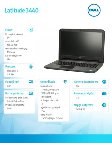 "Dell Latitude 3440 W78.1 (lic 64-bit Win8, nosnik) i5-4210U/1TB/4GB/ DVD-RW/HD4400/4cell/14"" HD/3Y NBD"