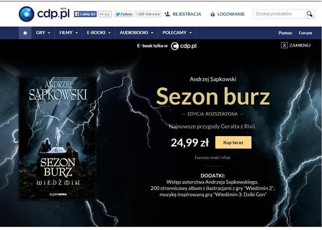 """E-Book """"Sezon Burz"""", A.Sapkowskiego dostępny w ciągłej sprzedaży na CDP.PL"""