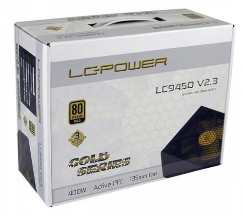 LC-Power ZASILACZ 400W LC9450 V2.3 80+ GOLD 135mm 6x SATA 2x PATA2x PCIe EPS Active PFC Black