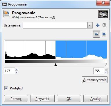 Progowanie GIMP