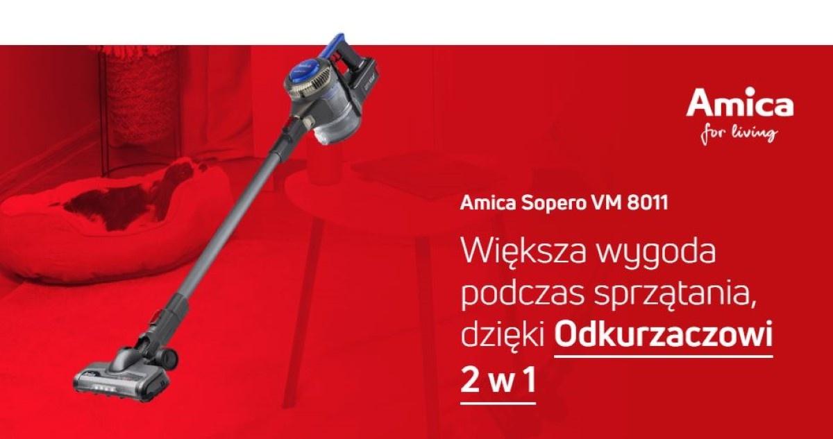 Odkurzacz Amica 8011 na grafice promocyjnej firmy