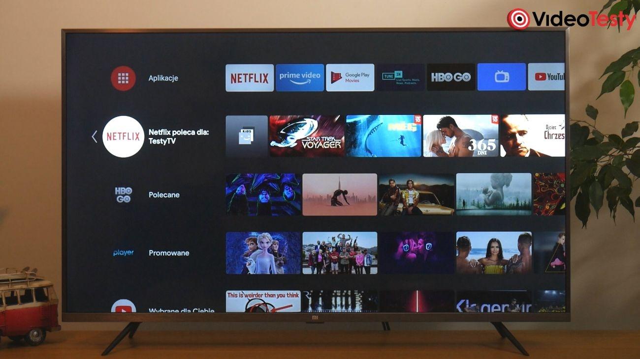 Test Xiaomi Mi TV 4S 43 cale ekran systemu Smart TV, którym jest Android 9.0