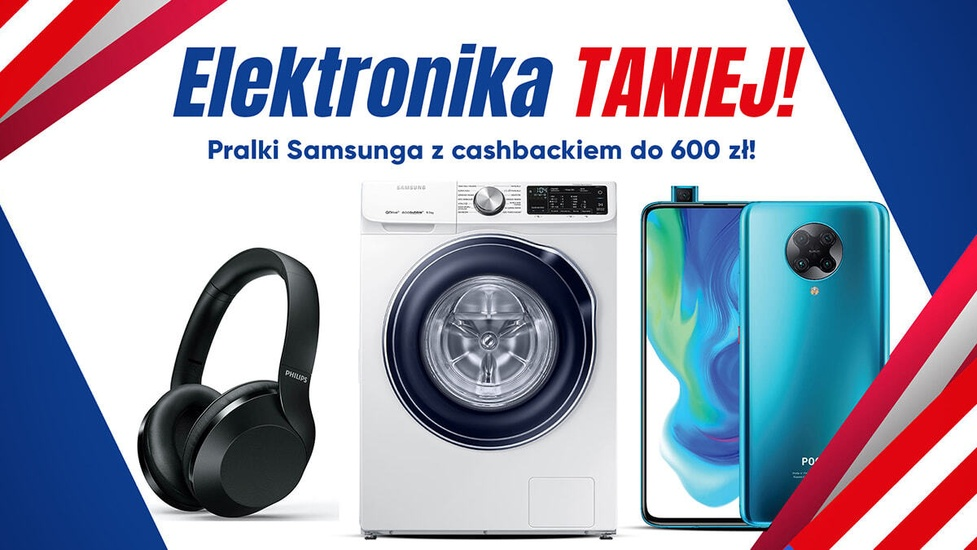 Elektronika taniej do 669 zł! Pralka Samsunga, telefon POCO i oczyszczacz Sharpa