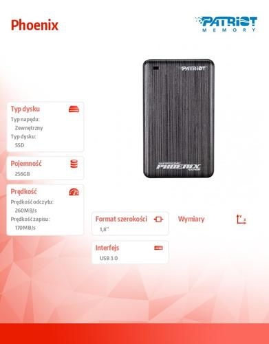 Patriot Phoenix 256GB USB3.0 SSD 260 MB/s