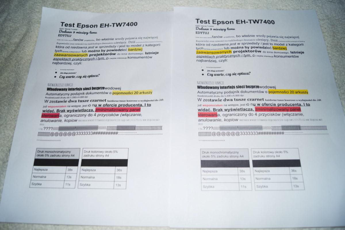 Tekst standardowy HP 515 vs Epson L3151