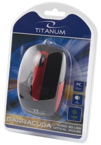 ESPERANZA Titanum Mysz Przewodowa, Optyczna, DPI 1000, 3 przyciski, Barracuda TM108K - czarno/czerwona