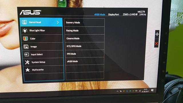 ASUS MG279Q menu opcje