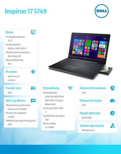 """Dell INSPIRON 17 5749 Win8.1(64Bit) i7-5500U/1TB/8GB/GF840M 2GB/4-cell/8xDVD+/-RW/BT 4.0/17.3"""" HD+ Truelife/Silver/2Y NBD"""