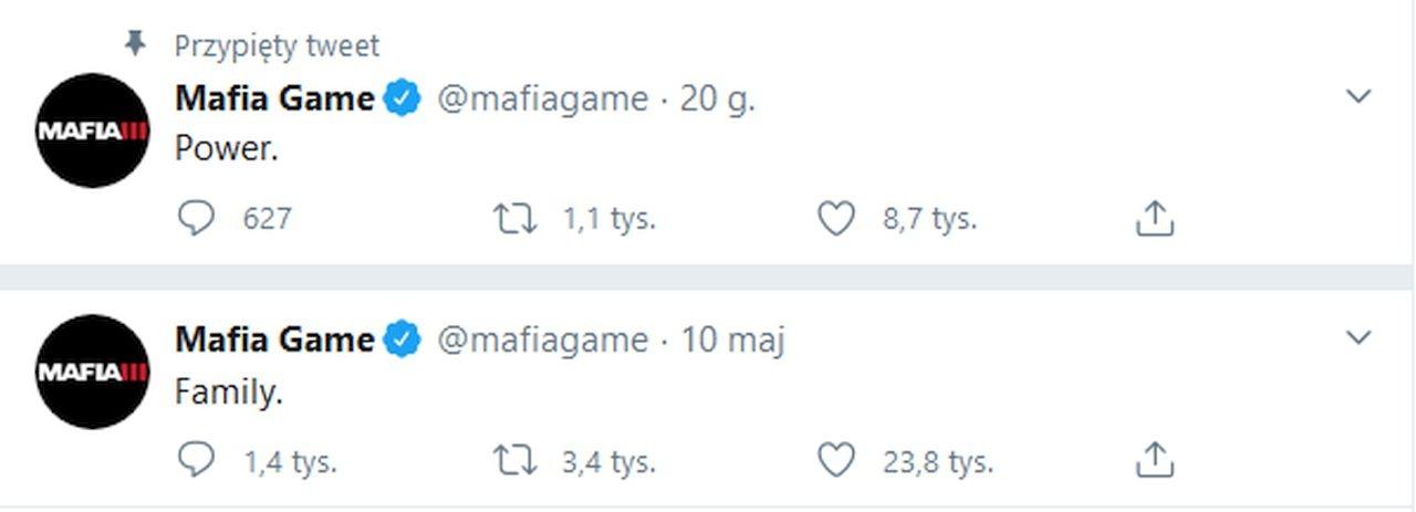 Screen z oficjalnego twiterra serii Mafia