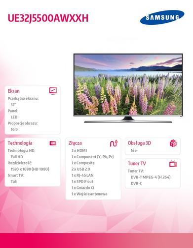 "Samsung 32"" TV Slim LED HD UE32J5500AWXXH"