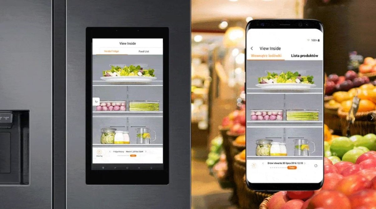 Skorzystaj z funkcji View Inside, by podejrzeć wnętrze Twojej lodówki Samsung na ekranie swojego smartfona.