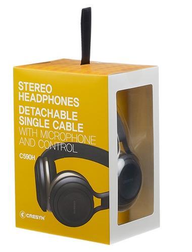 Cresyn C590H Czarne słuchawki nauszne z mikrofonem i pilotem