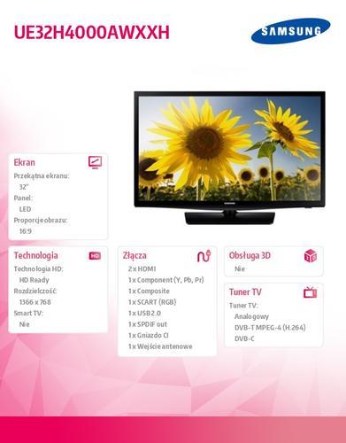 Samsung 32'' TV Slim LED HD UE32H4000AWXXH