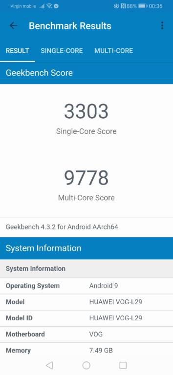 Huawei P30 Pro - geekbench