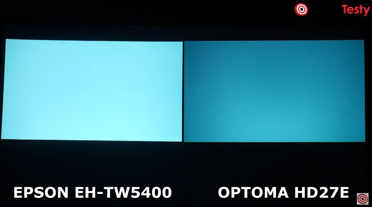 Epson EH-TW5400 vs Optoma HD27e porównanie obrazu błękit